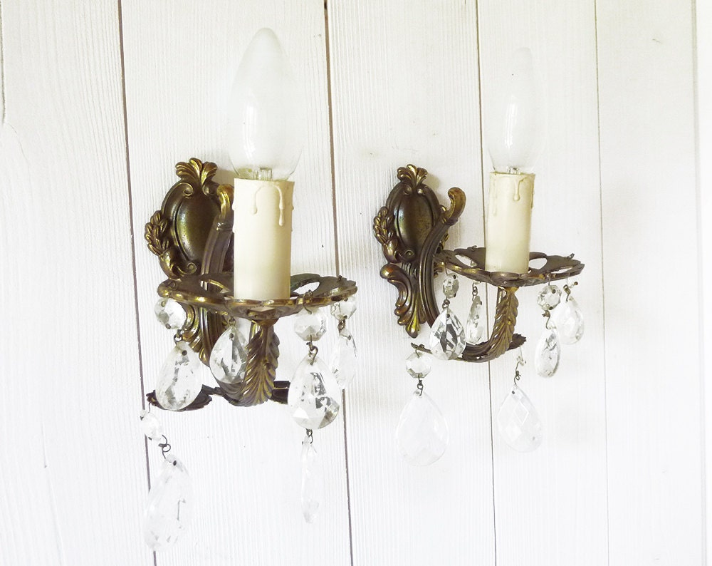 Wall Sconces With Hanging Crystals : Pair of French Wall Sconces with Hanging Crystals by LaLoupiote