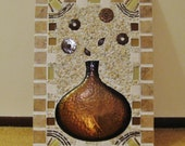 Brown mosaic vase for mantel décor, Metal vase art, Brown beige mixed media with tile, Contemporary brown wall décor, Earth tone mosaic # 30