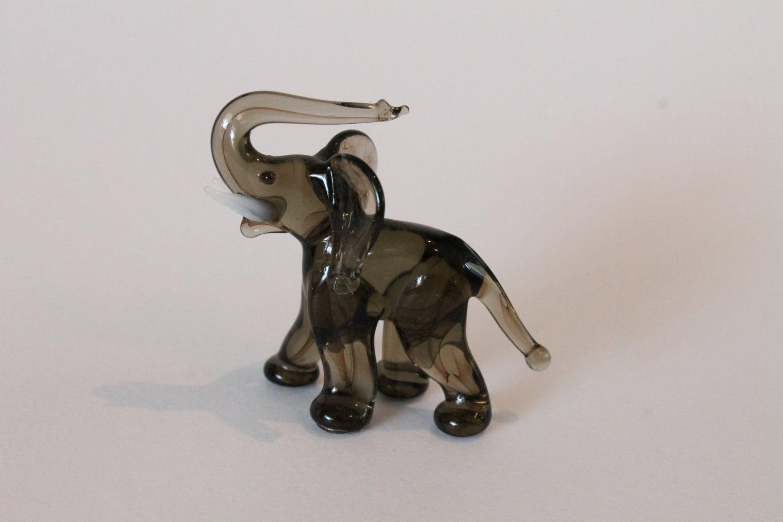Gray Hand Blown Glass Elephant Figurine Murano Style