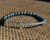 Dark Gray Cross Bracelet,  Silver Cross