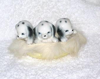 Vintage Dalmation dog black white Spring Easter Puppies Puppy Dog Porcelain Ceramic figurine Japan Real Fur Fire Dog Basket Fireman