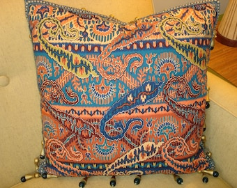 Vintage Brunschwig and Fils Paisley Pillow with Wood and Glass Bead Tassel Trim