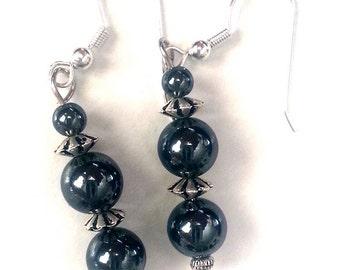 Hematite Sphere Gemstone Dangling Earrings