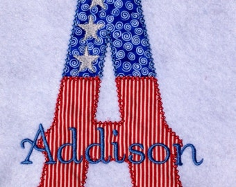 Fourth of July Alpha-Applique shirt-Personalized shirt-Fourth of July