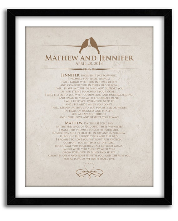 Personalised Wedding Vow Gifts : Wedding Vow Keepsake, Personalized Wedding Anniversary Gift, Unique ...