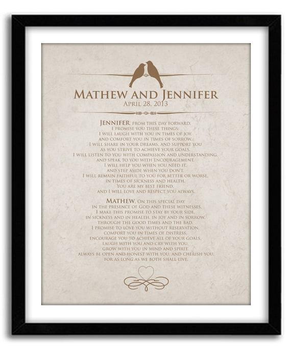 Personalized Wedding Vows: Items Similar To Wedding Vow Keepsake, Personalized