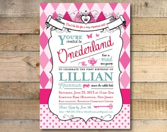 Alice in Wonderland Invitation - 1st Birthday Party