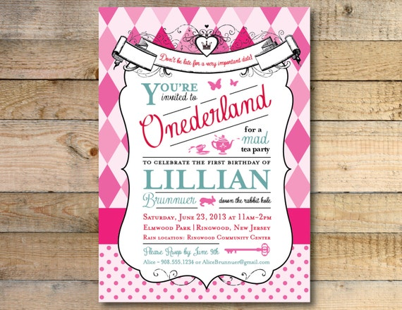 alice in wonderland invitation 1st birthday party, Birthday invitations