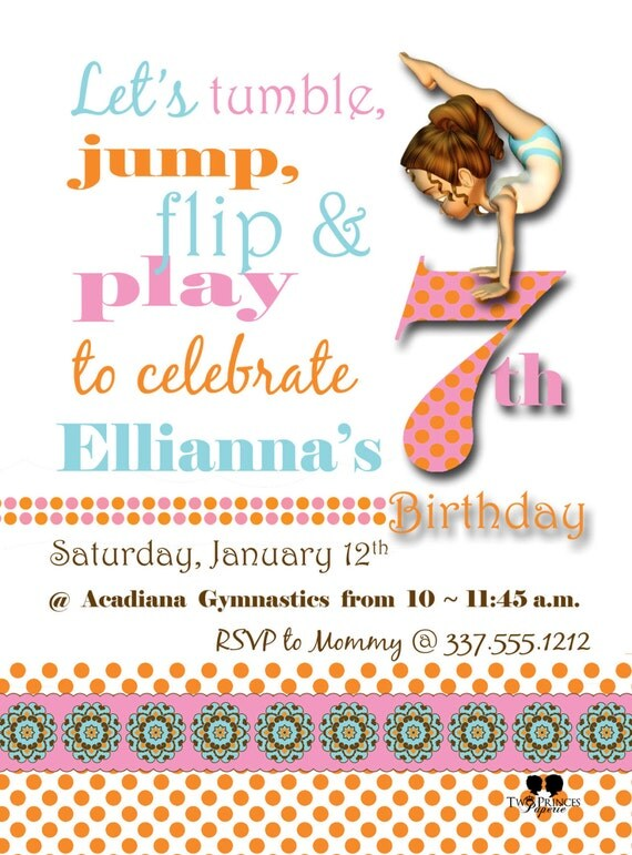 Custom Gymnastics Birthday Invitations Photo 1st 2nd – Gymnastic Birthday Invitations