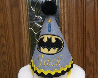 Batman First Birthday Party Hat -  Boys Batman Party Hat