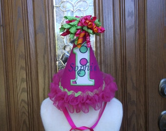 Girls First Birthday Party Hat - Hot Pink Birthday Hat - Birthday Party Hat  - Free Personalization