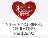 Choose Any Two Rattles or Teething Rings - Keepsake Toys