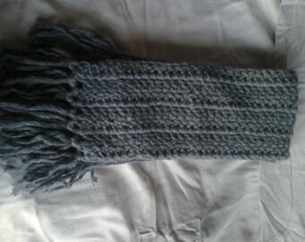 Adult light grey  crochet scarf