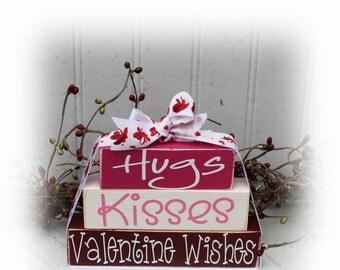 Valentine's Wishes Itty Bitty Wood Stacker Blocks