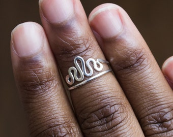 Silver Midi Ring Above Knuckle Sterling Silver Ring