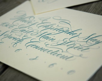 flourished copperplate calligraphy for wedding invitations