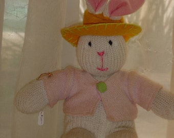 """Hand knit rabbit """"bunny"""" doll with sweater and hat"""