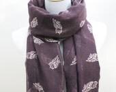 Purple Owl Scarf Plum Purple and White Little Owl Print Scarf