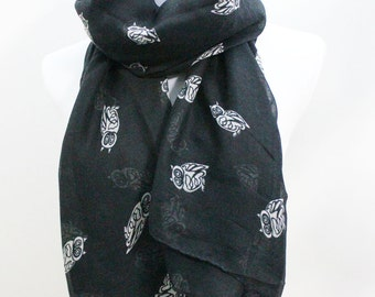 Black and White Owl Scarf, Little Owl Print Scarf, Scarf Accessories, Scarf Black, Scarf For Women, Scarf Gift, Scarf Owl, Christmas Gift