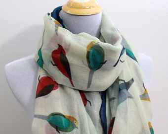 Cute Beige Little Bird Scarf, Colorful Bird Scarf, Scarf Gift, Scarf Bird, Scarf For Women, Womens Scarf, Gift, For Her, For Women, For Mom