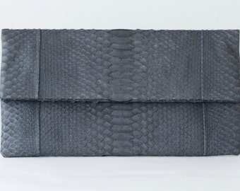 Grey - Genuine Python snakeskin Clutch / Envelope  -  Large