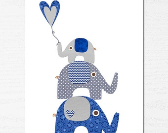 Navy and grey elephant nursery Art Print, 8x10, baby boy room, Kids Room Decor, Children Wall Art -  elephant family