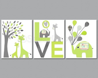 Grey and green Nursery Art Print Set, 8x10, Kids room Decor-love,tree, giraffe family, elephant