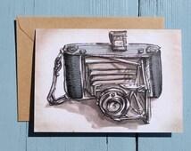 Vintage Camera  Illustration, Zeiss Ikon, Note Card x1 with envelope