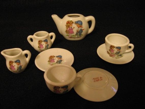 china tea set boy and girl garden collectible vintage g. Black Bedroom Furniture Sets. Home Design Ideas