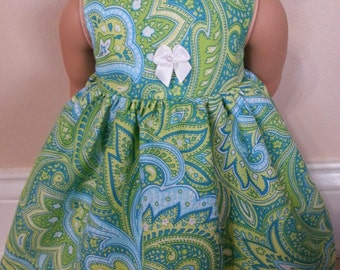 Free Shipping on all US orders! American girl doll clothes, fits 18 inch dolls,  green paisley print sleeveless dress