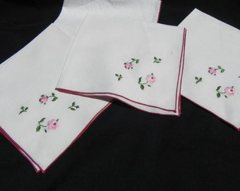 Vintage  Linen Napkins  White With Pink and Red Roses