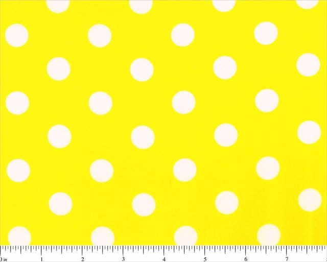 yellow with large white dots lots a dots polka dot fabric by. Black Bedroom Furniture Sets. Home Design Ideas