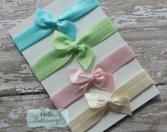 4 No Tug Elastic Hair Ties - Aqua Pink Cream and Mint Ponytail Holders - Hairties Sweet Vintage Color Hair ties