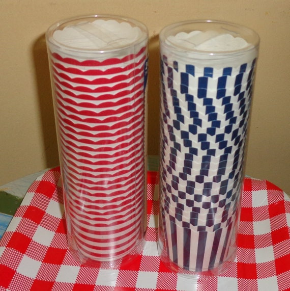 4th of July red white striped or Blue white striped paper baking cups liners party favors