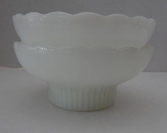 Pair of Vintage E.O. Brody M2000 Milk Glass Scalloped Bowls