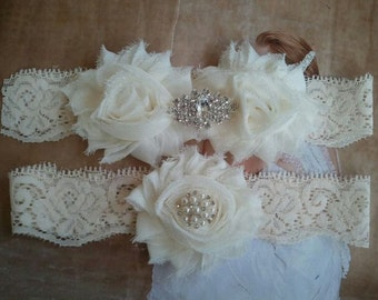 Wedding Garter - Bridal Garters - Ivory garter Set on a Ivory Lace with Pearl & Rhinestone - Style G262