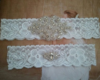 Wedding Garter & Toss Garter Set - Crystal Rhinestone on a French White Lace - Style G2040