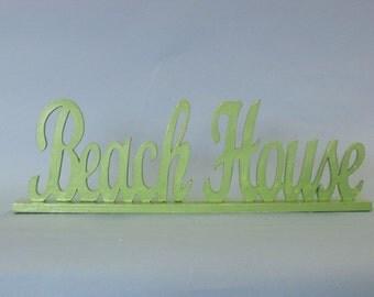 """Beach House Sign Wooden 19"""" Green Wedding Sign / Wedding Decor / Wedding Decorations / Table Decorations"""