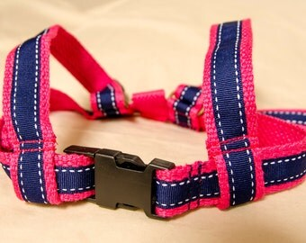 Baby & Toddler harness, lead. Cotton webbing leash. Bright Pink and Navy Blue Ribbon.
