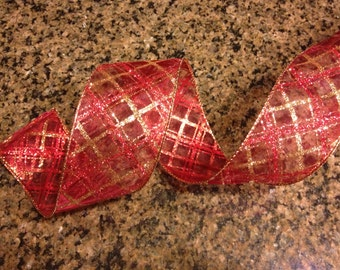 """Burgundy and Gold Checkered Pattern Wired Ribbon, 2.5"""""""