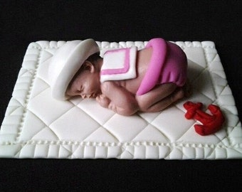Fondant baby sailor girl cake topper