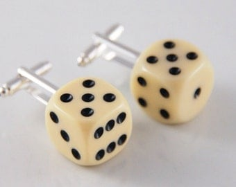 Ivory Dice Cuff Links with Black Spots