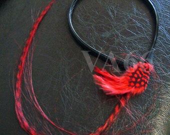 Red Feather Hairband Black Long 40cm Hair Accessory Tiger look Gift Birthday girl toddler Teenager