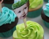 Photo cupcake toppers in blue and green personalized birthday hat