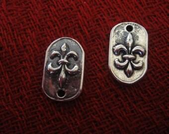 925 sterling silver oxidized  fleur de lis charm