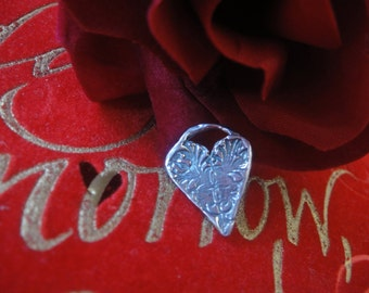 925 sterling silver oxidized heart charm or pendant 1 pc.