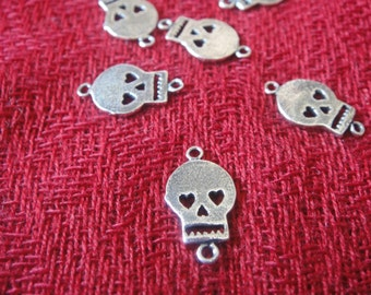2pc 925 Sterling Silver Oxidized Flat Skull Connector Charm