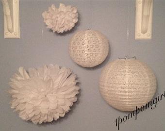 WHITE WEDDING / 2 Tissue Paper Pom Poms & 2 Paper Lace Lanterns // wedding decorations, baby shower / nursery / bridal shower / birthday