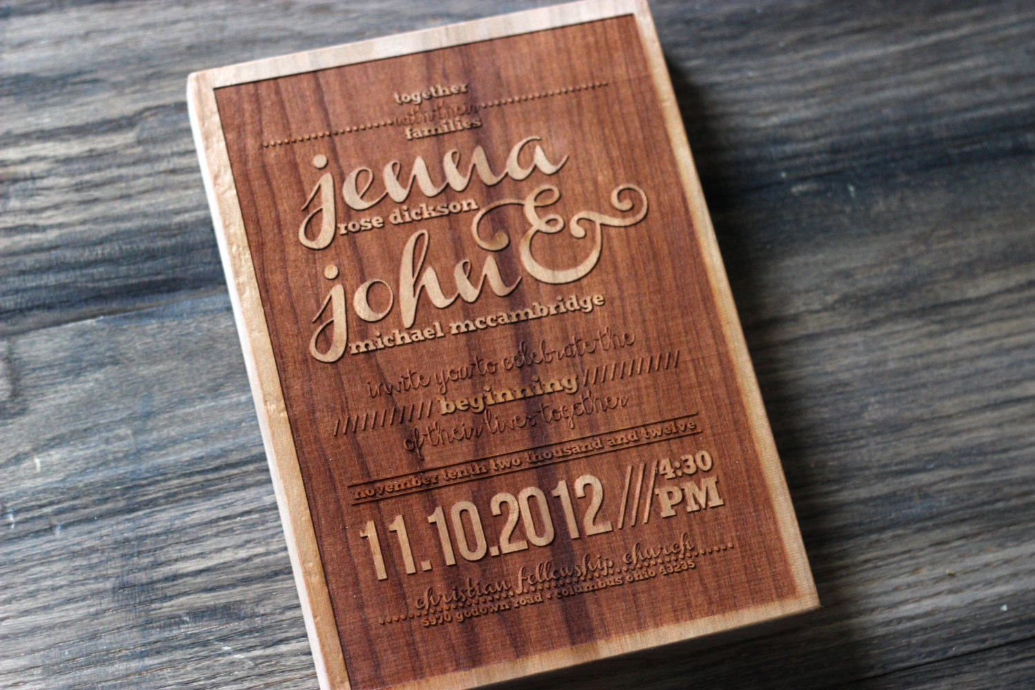 Engraved Wedding Invitation Modern Wood Replica