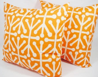 2 Decorative Throw Pillow Covers - Orange Geometric Pillow- Orange Couch Pillow 12x16 12x18 14x14 16x16 18x18 20x20 22x22 24x24 26x26